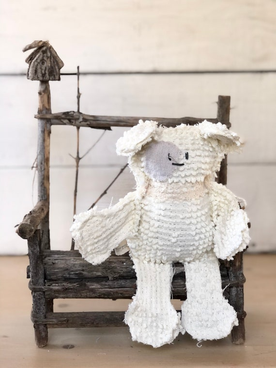 Vintage Cream And silver thread Vintage Chenille Dog puppy farmhouse handmade gift
