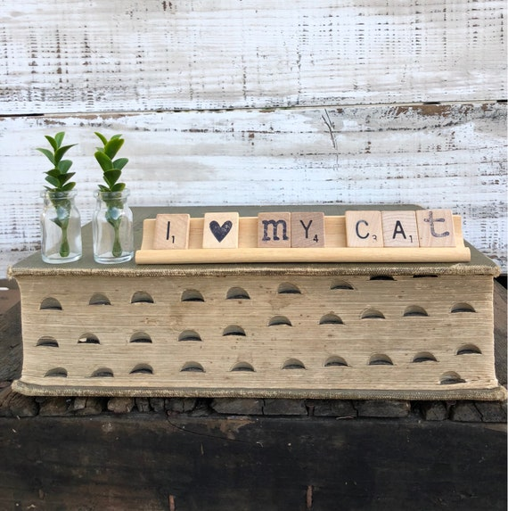 Vintage Scrabble Wood Rack Sign I LOVE My CAT Free Shipping