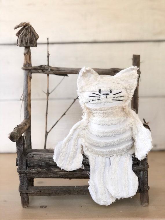 Cream stripe Vintage Chenille Cat Softie Plush Stuffed Animal kitten baby gift birthday free shipping