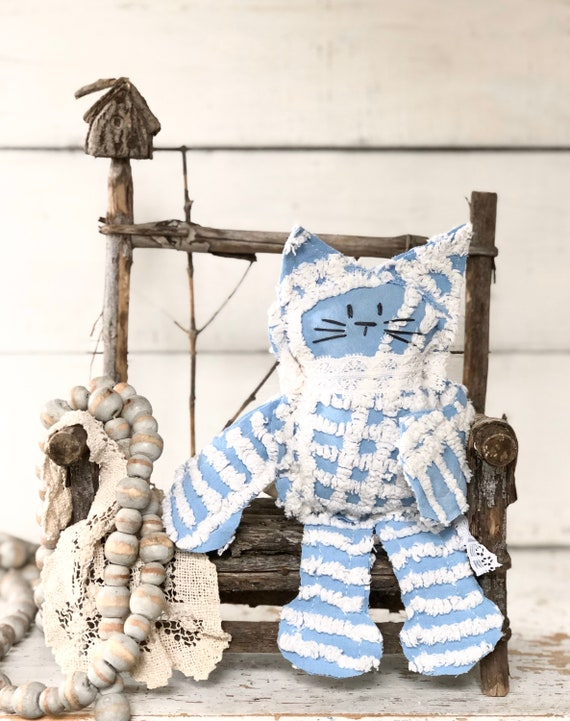 Blue and white Vintage Chenille Cat Softie Plush Stuffed Animal kitten baby gift birthday free shipping