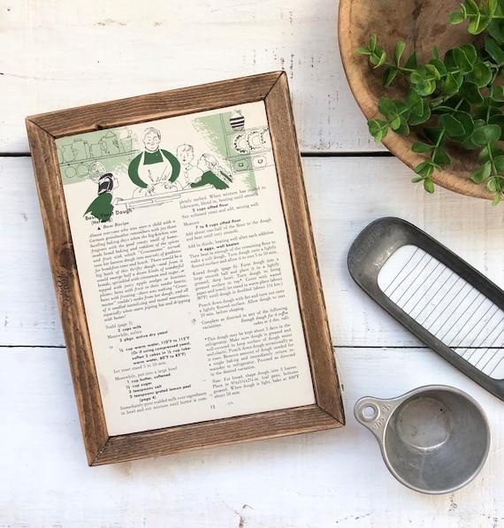 GERMAN Vintage Recipe Page Sign || Grandmas kitchen || handmade gift for her || kitchen farmhouse