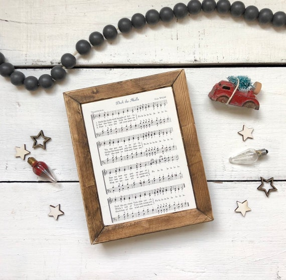 Deck the Halls Vintage Hymn Wood Frame Farmhouse Decor Christmas Sign Music Page