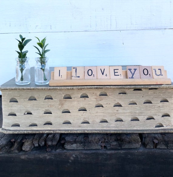 Vintage Scrabble Wood Rack Sign HELLO LOVE Free Shipping