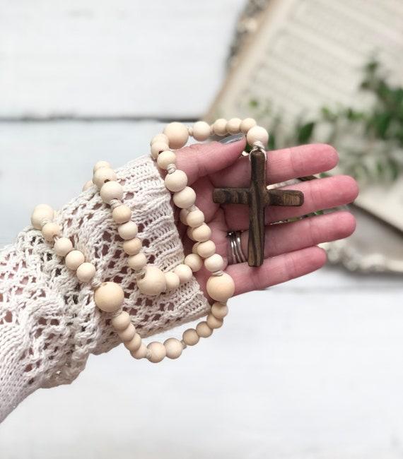 Natural Wood Bead Rosary Handmade Prayer Meditation Wood Garland Rustic Farmhouse Decor FREE shipping barnwood cross