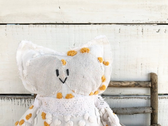Orange and White Vintage Chenille Owl || handmade || stuffed animal