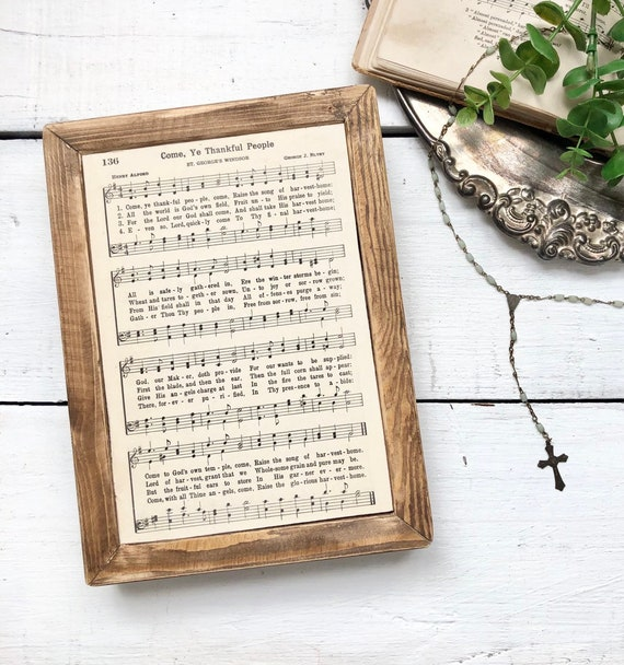 Come, Ye Thankful People Vintage Hymn Wood Frame