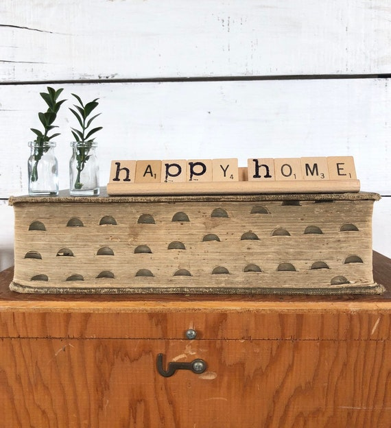 Vintage Scrabble Wood Rack Sign HAPPY HOME Free Shipping