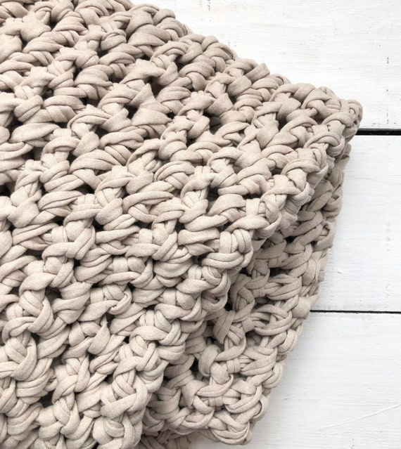 Large Chunky Hand Crocheted Throw Light Taupe Beige Bedding Jersey Knit Farmhouse decor FREE SHIPPING Afghan crochet handmade