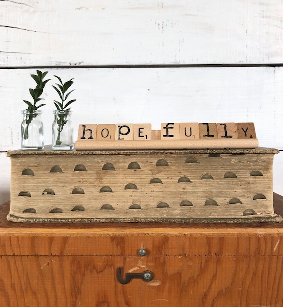 Vintage Scrabble Wood Rack Sign HOPE FULLY Free Shipping