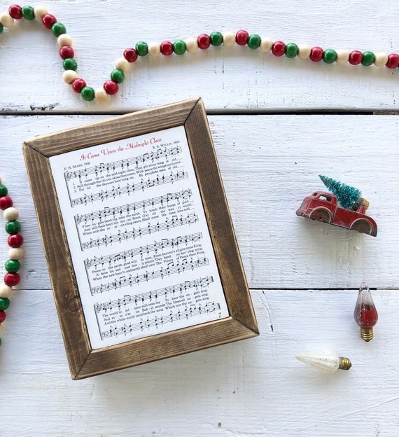 IT CAME UPON a Midnight Clear Vintage Hymn Wood Frame || Christmas decor || Christmas sign Free Shipping