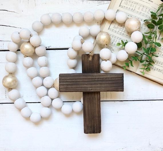 Large Wood Bead Rosary Giant Handmade Prayer Meditation Wood Garland Rustic Farmhouse Decor FREE shipping 4ft long