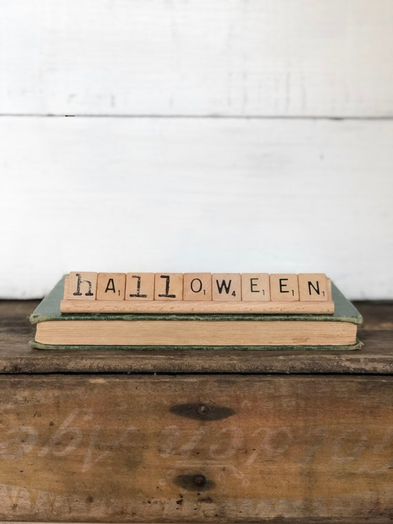 Vintage Scrabble Wood Rack Sign HALLOWEEN FREE SHIPPING
