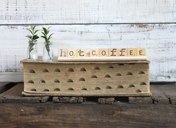 Vintage Scrabble Wood Rack Sign HOT COFFEE Free Shipping