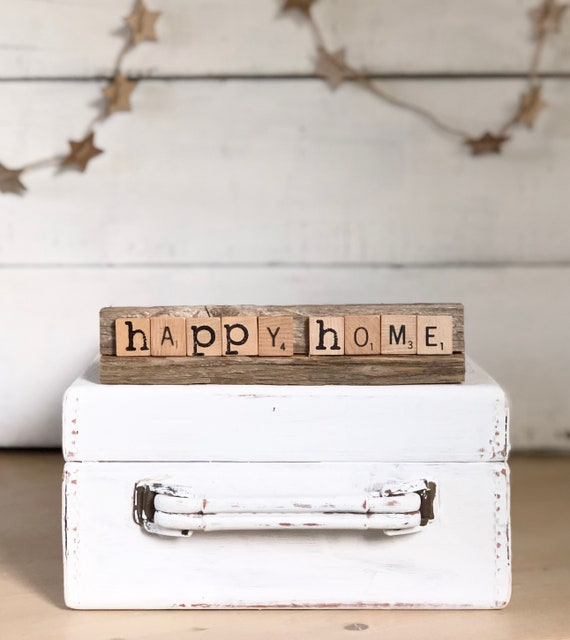 Vintage Scrabble Tile Wood Rack Sign Weathered Barn Wood Double Sided HAPPY HOME and GRATITUDE Free Shipping