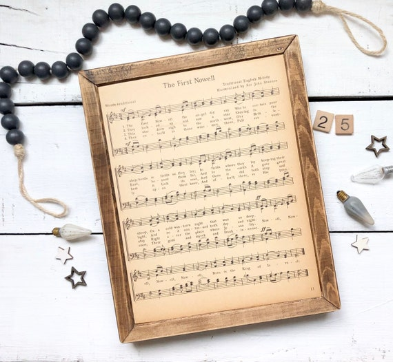 The First Nowell (Noel) 1930's authentic page Wood Frame original hymnal Christmas Decor Farmhouse