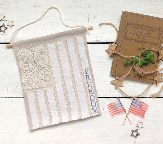 Neutral Vintage Cream Lace and Linen American Flag Wall Hanging Banner USA Fourth of July Farmhouse Decor FREEDOM free shipping