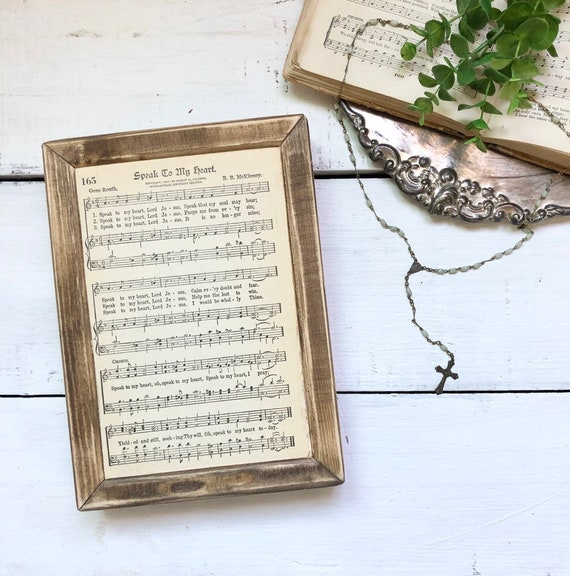 SPEAK to MY HEART Vintage 1936 Hymn Page||Wood Frame Sign||Authentic Hymnal Page||Wood sign