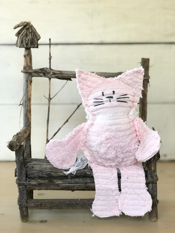 Pink Vintage Chenille Cat Softie Plush Stuffed Animal kitten baby gift birthday free shipping