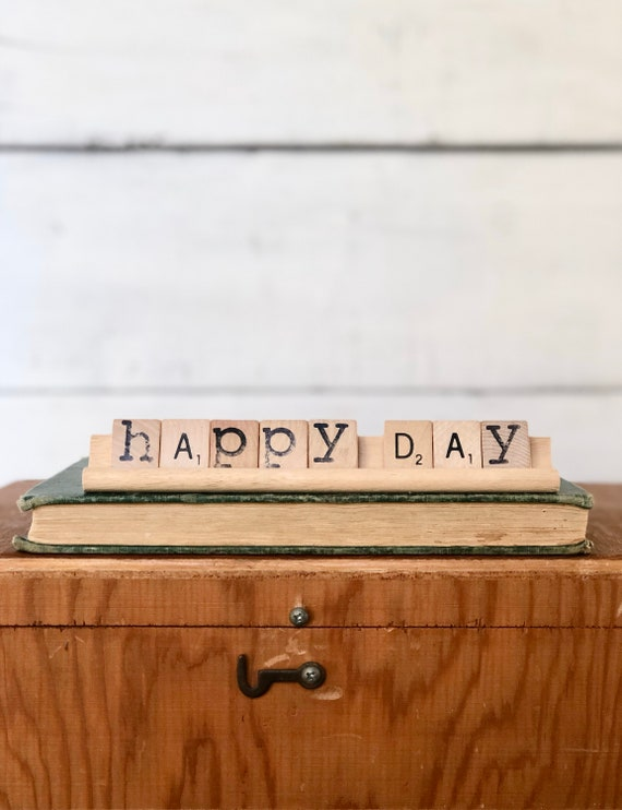 Vintage Scrabble Wood Rack Sign HAPPY DAY Free Shipping