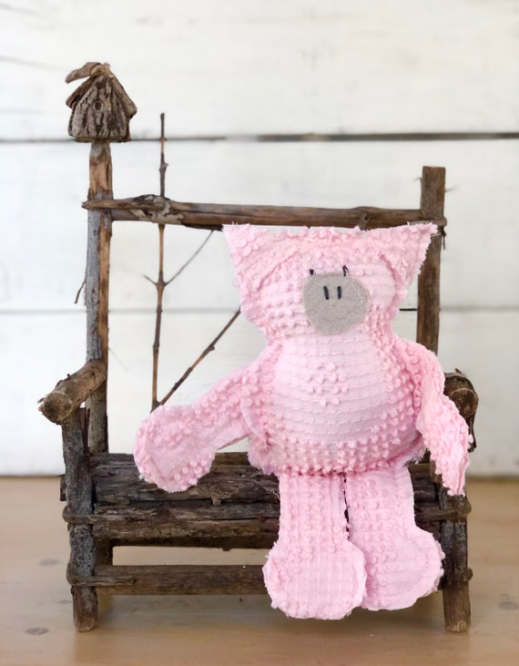 Vintage Bates Pink Chenille Pig FREE SHIPPING Easter decor farmhouse