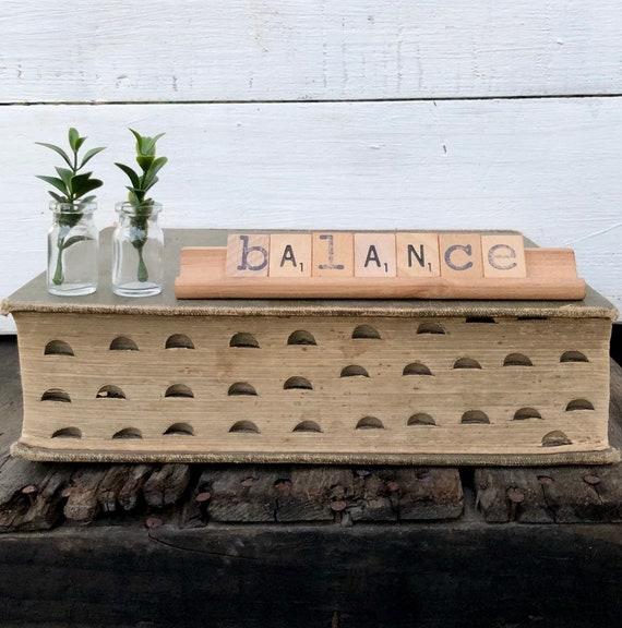 Vintage Scrabble Wood Rack Sign BALANCE Free Shipping