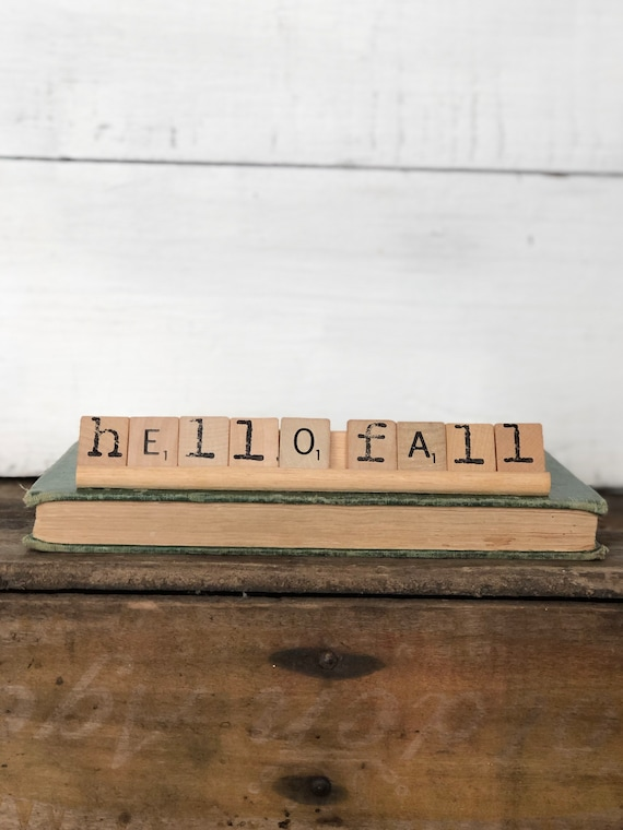 Vintage Scrabble Wood Rack Sign HELLO FALL Free Shipping