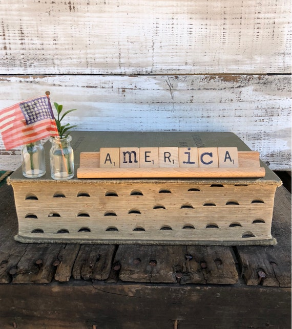 Vintage Scrabble Wood Sign || AMERICA Free Shipping