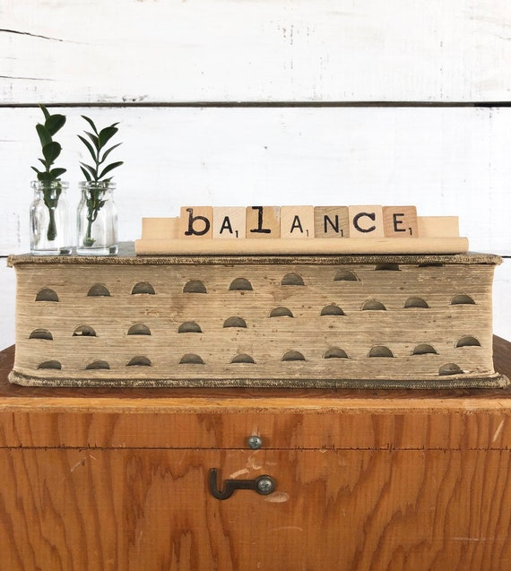Vintage Scrabble Wood Rack Sign BALANCE Free Shipping