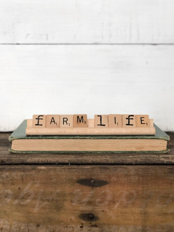 Vintage Scrabble Wood Rack Sign FARM LIFE Free Shipping