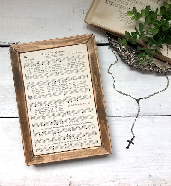 THE HILLS of HOME 1936 authentic page||Wood Frame||original hymnal page||wood sign
