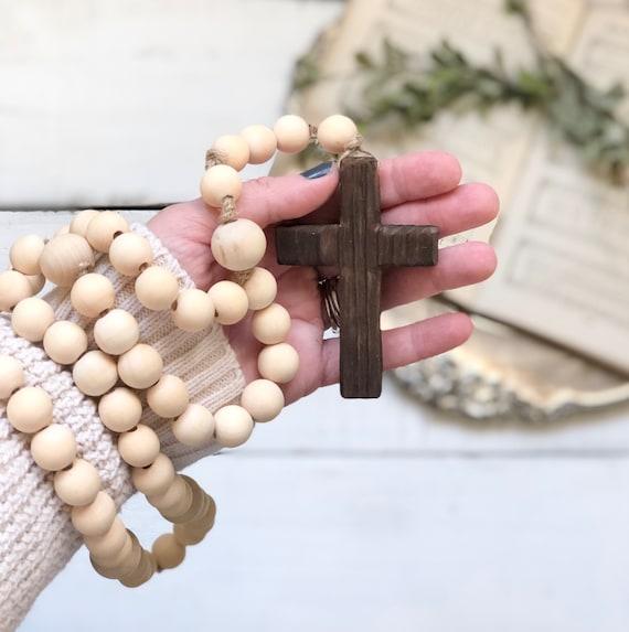 Natural Wood Bead Rosary Handmade Prayer Meditation Wood Garland Rustic Farmhouse Decor FREE shipping