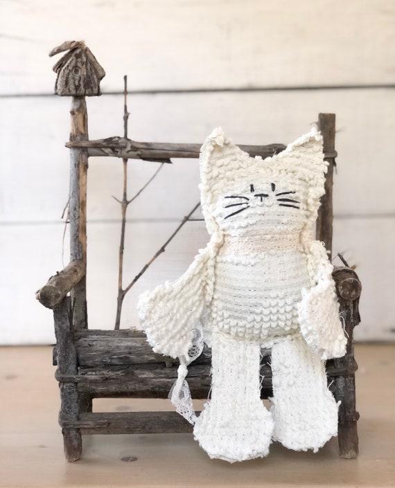 Cream and silver thread Bates Vintage Chenille Cat Softie Plush Stuffed Animal kitten baby gift birthday free shipping