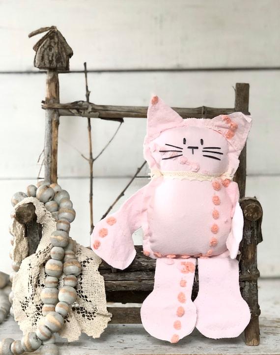 Pink and peach dot Vintage Chenille Cat Softie Plush Stuffed Animal kitten baby gift birthday free shipping