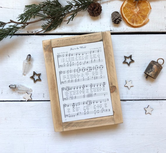 Joy to the World Vintage Hymn Wood Frame Farmhouse Decor Christmas Sign Music Page Authentic Antique