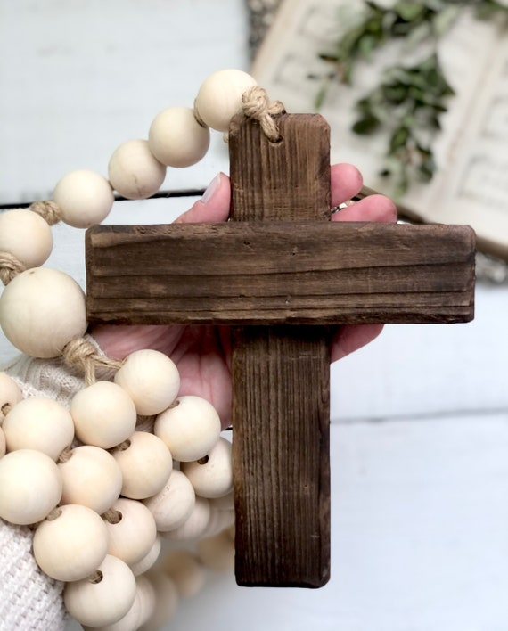 4 Foot Large Natural Wood Bead Rosary Giant Handmade Prayer Meditation Wood Garland Rustic Farmhouse Decor FREE shipping
