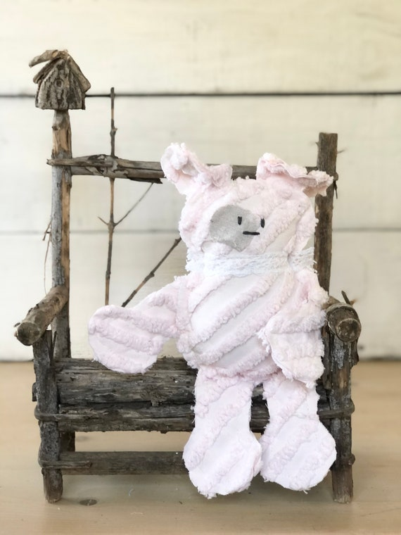 Pink Stripe Vintage Chenille Dog puppy farmhouse handmade gift