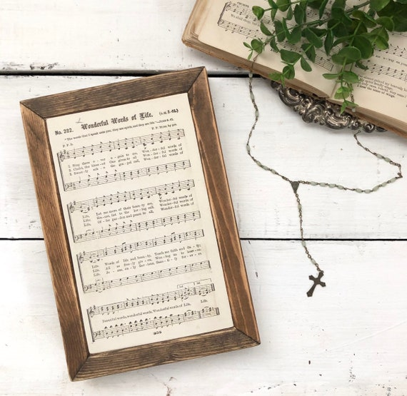 WONDERFUL WORDS of LIFE Vintage 1896 Hymn Page||Wood Frame Sign||Authentic Hymnal Page||Wood sign