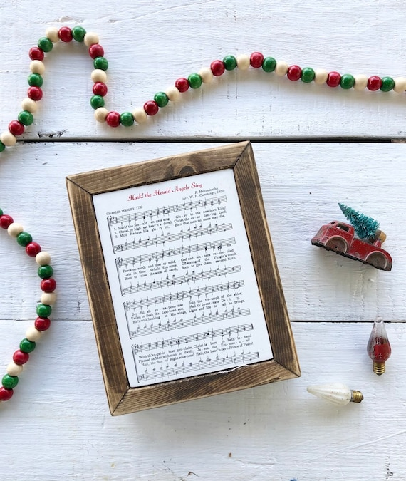 HARK! The HERALD ANGELS Sing Vintage Hymn Wood Frame || Christmas decor || Christmas sign Free Shipping