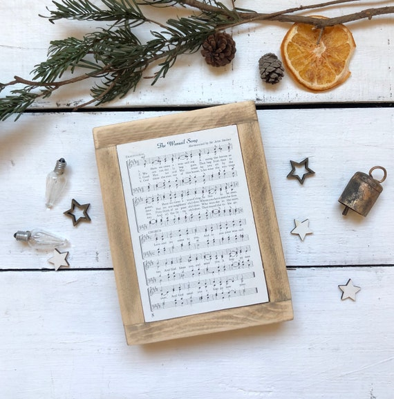 The Wassail Song Vintage Hymn Wood Frame Farmhouse Decor Christmas Sign Music Page