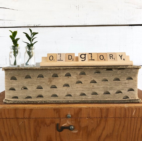 Vintage Scrabble Wood Rack Sign OLD GLORY Free Shipping