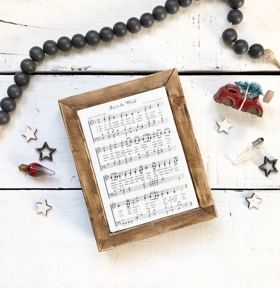 Joy to the World Vintage Hymn Wood Frame Farmhouse Decor Christmas Sign Music Page