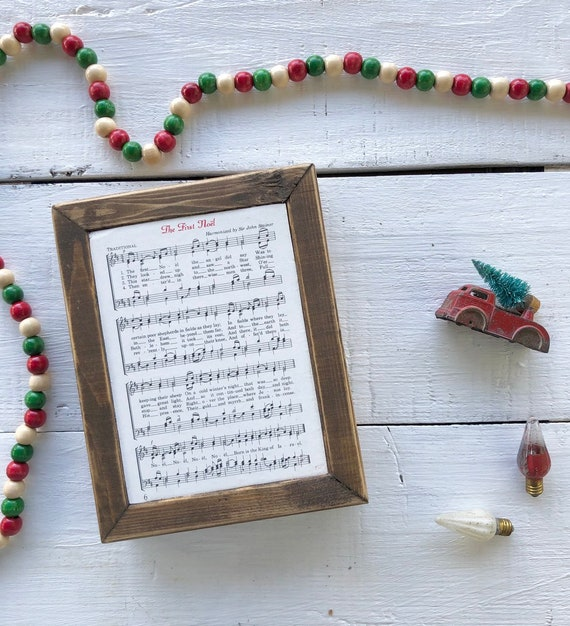 THE FIRST NOEL Vintage Hymn Wood Frame || Christmas decor || Christmas sign Free Shipping