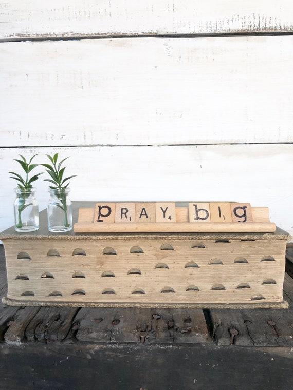 Vintage Scrabble Wood Rack Sign PRAY BIG Free Shipping