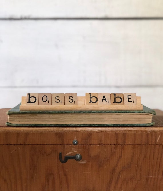 Vintage Scrabble Wood Rack Sign BOSS BABE Free Shipping