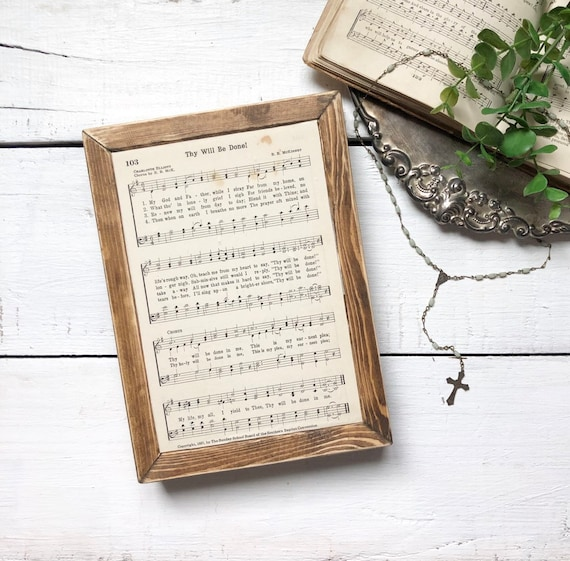 Thy Will Be Done Vintage 1930's  Hymn Page Wood Frame Sign Authentic Hymnal Page Wood sign