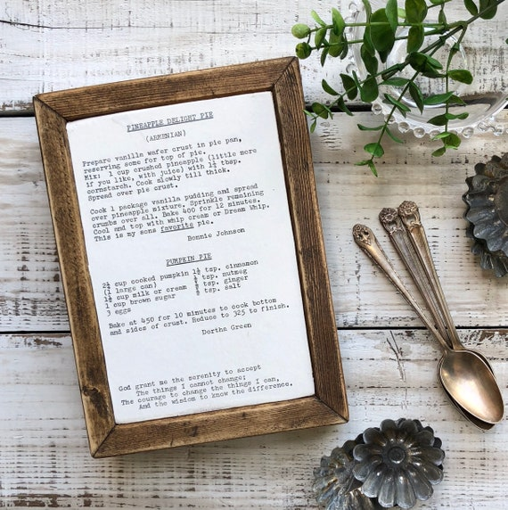 Vintage 1955 RECIPE Page Wood Handmade Sign GOD Grant me the Serenity