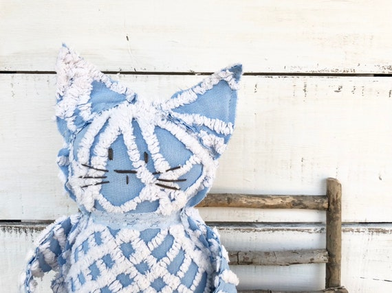 WHITE AND BLUE Vintage Chenille Cat Softie Plush Stuffed Animal kitten baby gift birthday free shipping