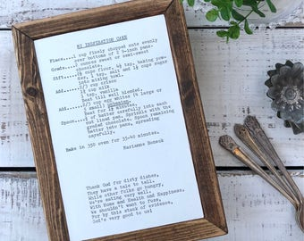 VINTAGE RECIPE Inspiration Cake and Thank God for dirty dishes Wood Frame Sign