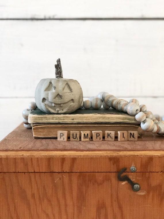Small Concrete Pumpkin Halloween jack-o-lantern