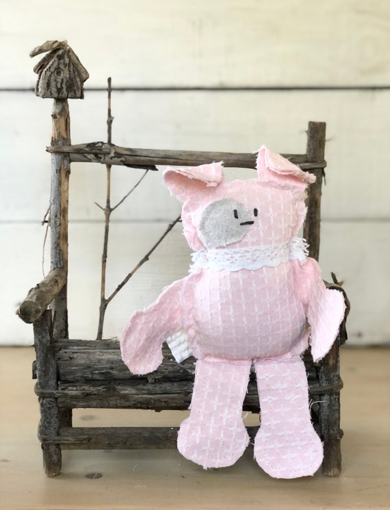 Pink And white plaid Vintage Chenille Dog puppy farmhouse handmade gift